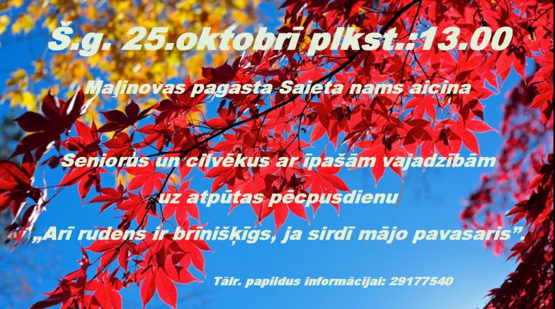 ATPŪTAS PĒCPUSDIENA MAĻINOVĀ